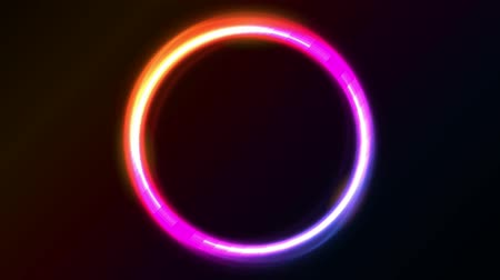 Abstract Shiny Light Circles AnimationAnimation of a loop of abstract shiny neon light circles with bright effect on black background