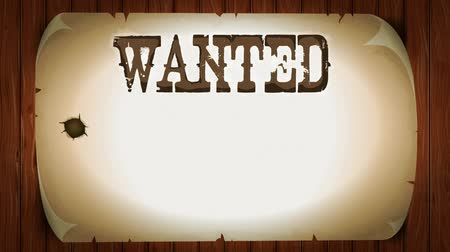Wanted Sign On Western Movie Background Animation of a vintage old wanted placard poster, with gunshot shock effect, old light, torn paper and wood patterns background Wideo