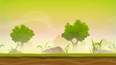 ground : Seamless Forest Landscape Animation For Ui Game Animation of a cartoon seamless green nature forest background with parallax motion effect, grass, rocks and trees for ui game Stock Footage