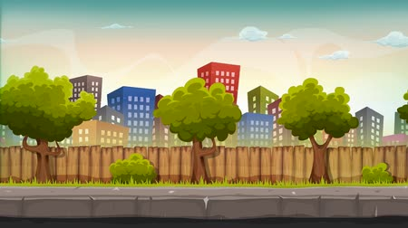Seamless Street City With Parallax Effect Animation Loop of a cartoon seamless urban city landscape with fancy buildings and skyscrapers, for game ui Wideo