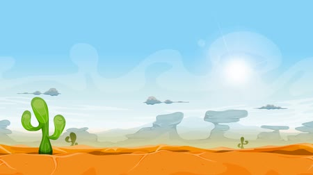 Seamless Western Desert Landscape Animation Seamless looped animation of a desert landscape background, with cactus plants, mountains and clouds in the sunshine