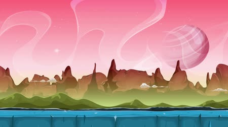 prezentaci : Fairy Sci-fi Alien Landscape Animation Looped seamless slideshow animation of a cartoon sci-fi alien planet landscape background, with layers for parallax including weird mountains range, stars and planets Dostupné videozáznamy