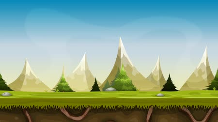 Seamless Mountains Landscape Animation Seamless looped animation of a cartoon summer or spring mountain landscape, with grass, roots, pine trees and firs Wideo