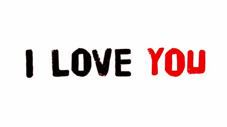 stop motion : I Love You Doodle Clip HD Animation of a doodled I love you text with pencil effect, and noise texture Stock Footage