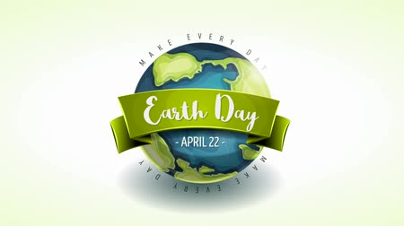 Happy Earth Day Banner Animation Card Animated Motion graphic of a happy earth day banner, on cartoon earth rotating, for april 22 world environment safety celebration