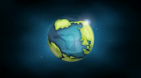 Earth Planet Background Animation Illustration of the planet earth globe icon with continent and ocean frontiers, rotating on bright space background Wideo