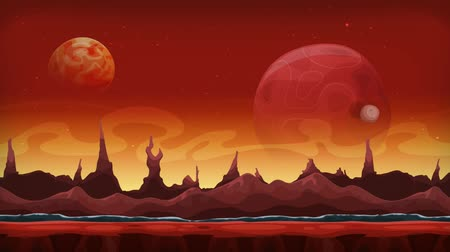 Seamless Animation Of Fantasy Alien Background Seamless looped animation of a cartoon funny sci-fi alien planet landscape background, with layers for parallax including weird mountains range, stars and planets
