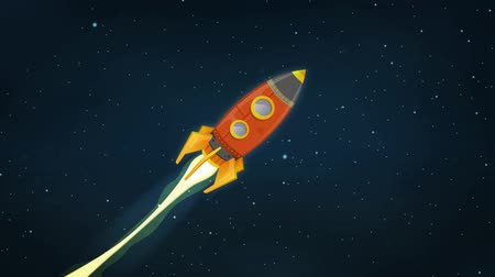Rocket Ship Flying Through Space Animation Looped Animation of a cartoon retro red spaceship blasting off and explorating space and planets Wideo