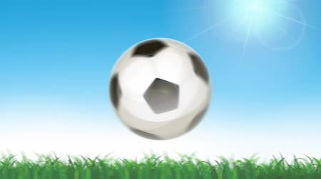 Soccer Ball Flying On Seamless Grass Animation Looped Animation of a soccer ball flying on seamless grass, with sunlight and shining sky Wideo