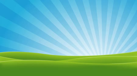 Green And Blue Landscape Animation Animation of a landscape in spring or summer season with fields, shiny sky at dawn, and sunbeams rotating