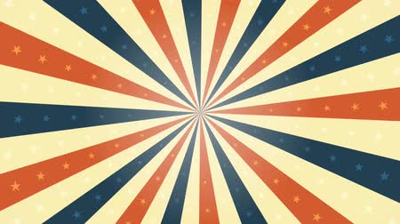 American Vintage Background Rotation Animation Animation of a looped vintage abstract and retro american patriotic poster, with sunbeams background, stars and stripes for fourth of july holiday