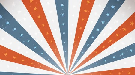 American Fourth Of July Background Rotation Loop Animation of an abstract vintage and retro american patriotic background, with sunbeams, stars and stripes for independence day celebration Wideo