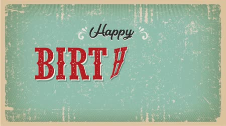 Vintage Happy Birthday Animation Card Animation of a vintage and grunge textured happy birthday card, with ornament, decorative hand drawn shapes and transition text effect