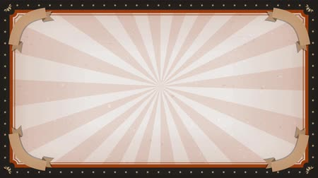 Circus carnival Frame Background Rotation Animation of an elegant vintage and retro circus background rotating, with frame ornament, sunbeams an stripes Wideo