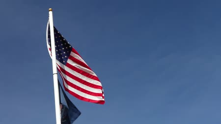 furl : america flag and flag of utah were waving during a sunny day