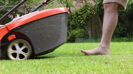 Mowing a lawn with an electric mower Dostupné videozáznamy