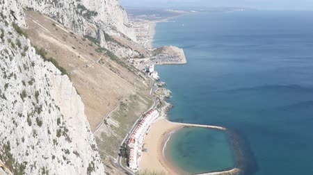 iberian : Gibraltar, United Kingdom, 1st October 2018:- The East side of the Rock looking towards Spain and Sandy Bay. Gibraltar is a British Overseas territory.