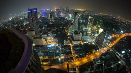 ingázó : v8. Beautiful cityscape time lapse of Bangkok using fisheye lens. Stock mozgókép