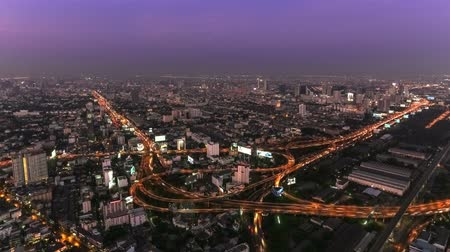 beautiful view : v21. Bangkok cityscape time lapse during twilight.