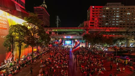 rali : v2. Bangkok protests time lapse downtown at night on February 9th 2014. Stock Footage