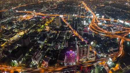 beautiful view : v23. Panning Bangkok cityscape time lapse at night.