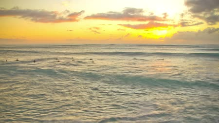 osamělost : v18. Beautiful time lapse clip of waves and surfers during sunset.