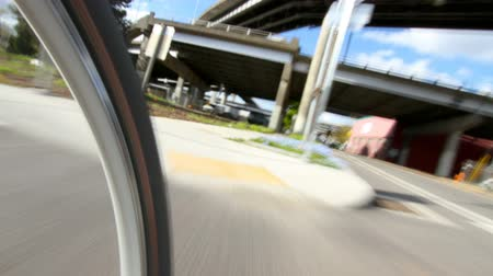 atleta : v7. Biking POV time lapse clip of riding on waterfront and industrial area.