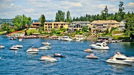 kano : v14. Boat traffic time lapse passing by in Lake Washington. Stok Video