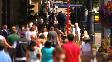 viagens de negócios : v1. Slow motion of city pedestrians walking by in the city and crossing streets.