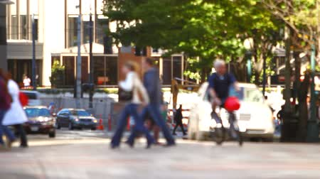 unrecognizable people : v5. City pedestrians walking by in the city and crossing streets. Stock Footage