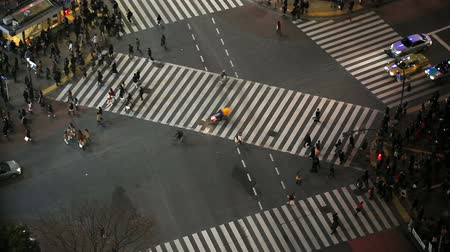crosswalk : v63. City pedestrian traffic of people crossing the famous Shibuya intersection at night in Tokyo.