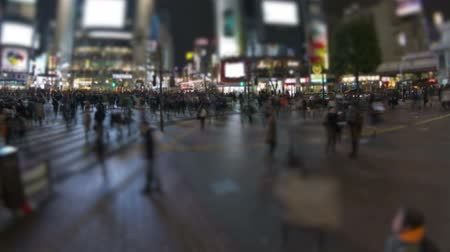 tokio : v23. City pedestrian traffic time lapse of Shibuya crosswalk in Tokyo at night.