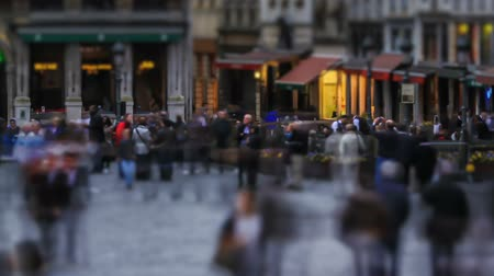 bélgica : v26. City pedestrian traffic time lapse of busy Brussels shopping area. Stock Footage