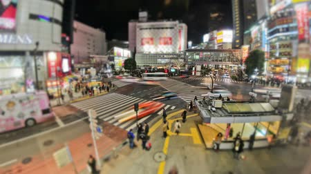japan : v87. City and pedestrian traffic time lapse of Shibuya intersection in Tokyo.
