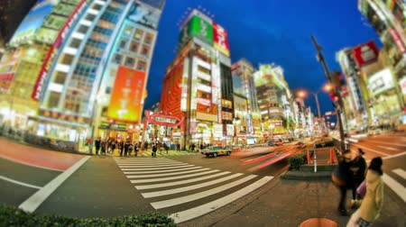 crosswalk : v89. City and pedestrian traffic time lapse in Shinjuku, Tokyo. Stock Footage
