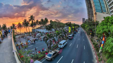 sunset city : v96. City and pedestrian traffic time lapse in Manila, Philippines HDR.