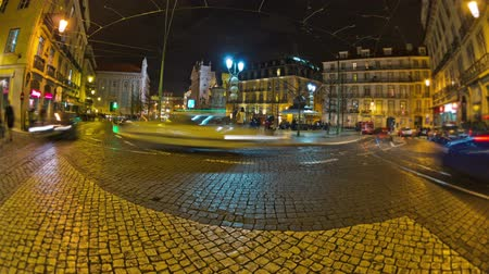 lisboa : v64. City traffic time lapse in old part of Lisbon at night.