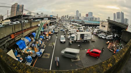tsukiji : v81. City traffic time lapse of busy Tokyo fish market. Stock Footage