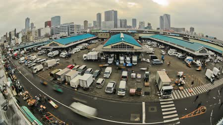 базарная площадь : v82. City traffic time lapse of busy Tokyo fish market.
