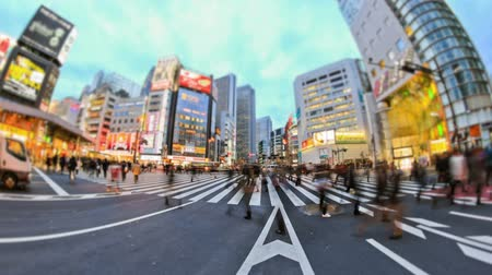 crowded : v86. City traffic time lapse of busy Tokyo streets near Shinjuku.