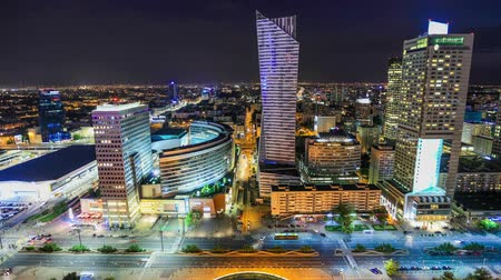 warszawa : v97. Time lapse of Warsaw, Poland cityscape at night.