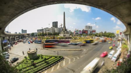 billboards : v110. City traffic time lapse of Victory Monument roundabout in Bangkok. Stock Footage
