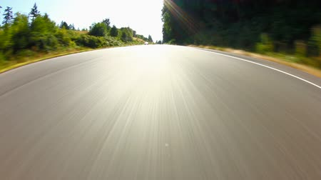 palce : v43. Country driving time lapse shot going over bridge using a fisheye lens 8 inches from ground.