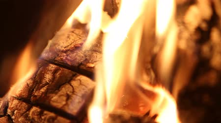 selektif : v1. Closeup shot of wood burning in fireplace. Shallow depth of field. Stok Video