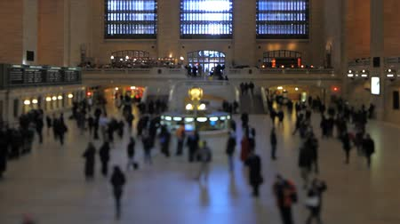 unrecognizable people : v1. Grand Central Station pedestrian traffic using a tilt shift lens. Stock Footage