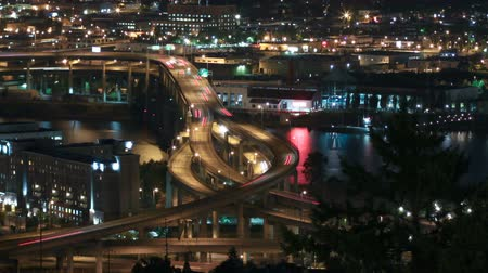 pacífico : v11. Panning time lapse of I-5 Marquam bridge traffic at night.