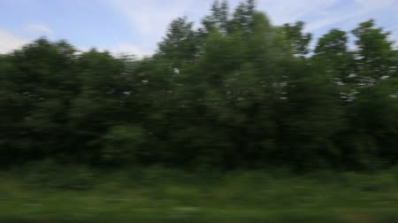 outside view : v28. Side view from a passenger train of the countryside of Poland. Stock Footage
