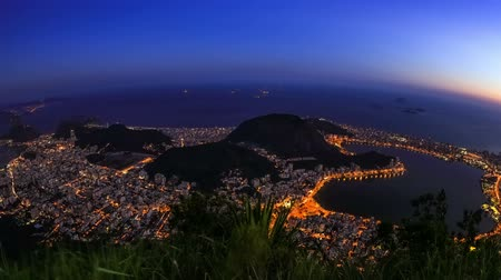 sugar loaf : v8. Rio De Janeiro zooming cityscape time lapse after sunset.