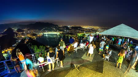 brezilya : v14. Rio De Janeiro cityscape time lapse at night from Sugar Loaf Mountain on February 27th 2014.