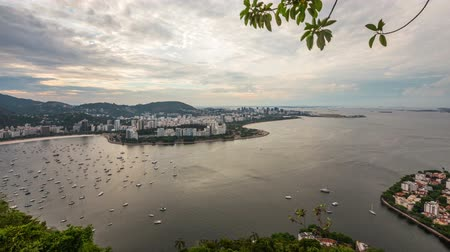 brezilya : v16. Rio De Janeiro cityscape panning time lapse at dusk from lower Sugar Loaf Mountain.